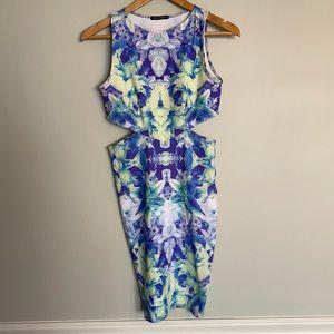 Donna Mizani Floral Cutout Bodycon Dress S